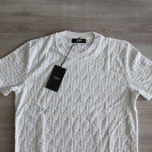 Fendi Shirts - Fendi Monogram Towelling Fabric Jacquard T-Shirt